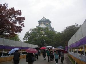 大阪城も菊祭りも雨にけぶって……