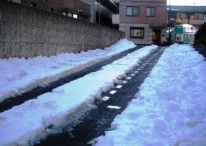 マンションのスロープの雪をかいたら……